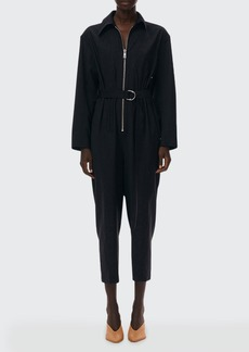 Tibi Tropical Wool Corset Jumpsuit with Belt