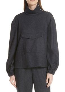 Tibi Tweed Funnel Neck Wool Cotton Top