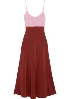 Tibi Two-tone silk crepe de chine midi dress