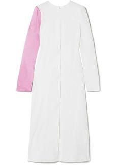 Tibi Two-tone silk-satin and crepe midi dress