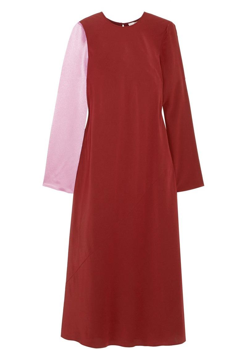 8ddca3e92fd77 Tibi Two-tone Silk-satin And Crepe Midi Dress Now  448.00