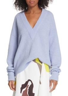 Tibi V-Neck Airy Alpaca Blend Sweater