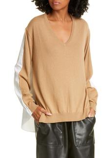 Tibi V-Neck Combo Sweater