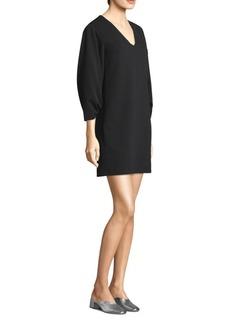 Tibi V-Neck Shirred Sleeve Dress