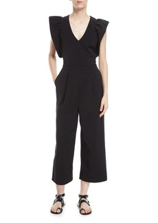Tibi V-Neck Wide-Leg Stretch-Faille Jumpsuit