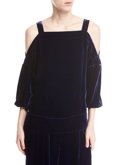 Tibi Velvet Cold-Shoulder Top