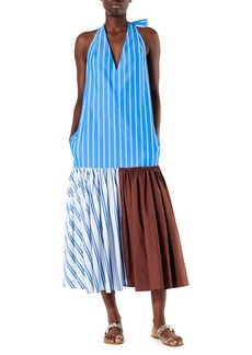 Tibi Vivian Stripe Deep V Halter Dress