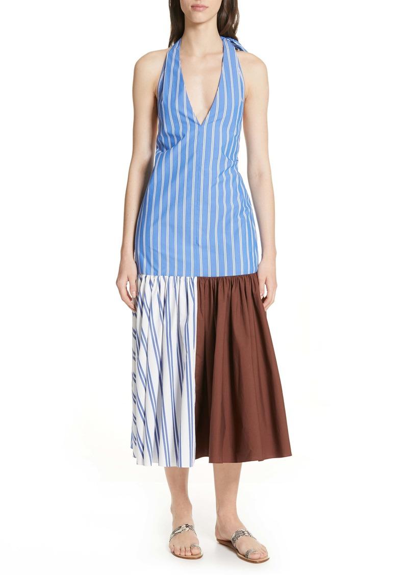 Tibi Vivian Stripe Halter Midi Dress