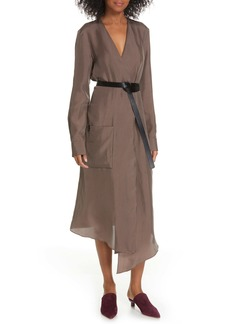 Tibi Walden Long Sleeve Faux Wrap Midi Dress