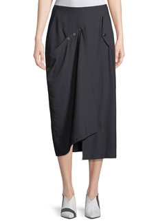 Tibi Washed Viscose Draped Midi Skirt with Snap Details