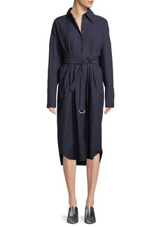 Tibi Watts Long-Sleeve Belted Oxford Shirtdress
