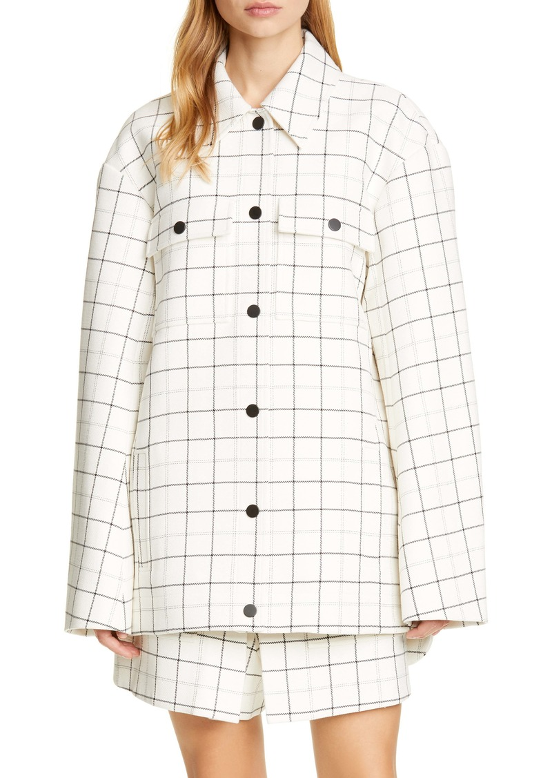 Tibi Windowpane Check Workmen Coat