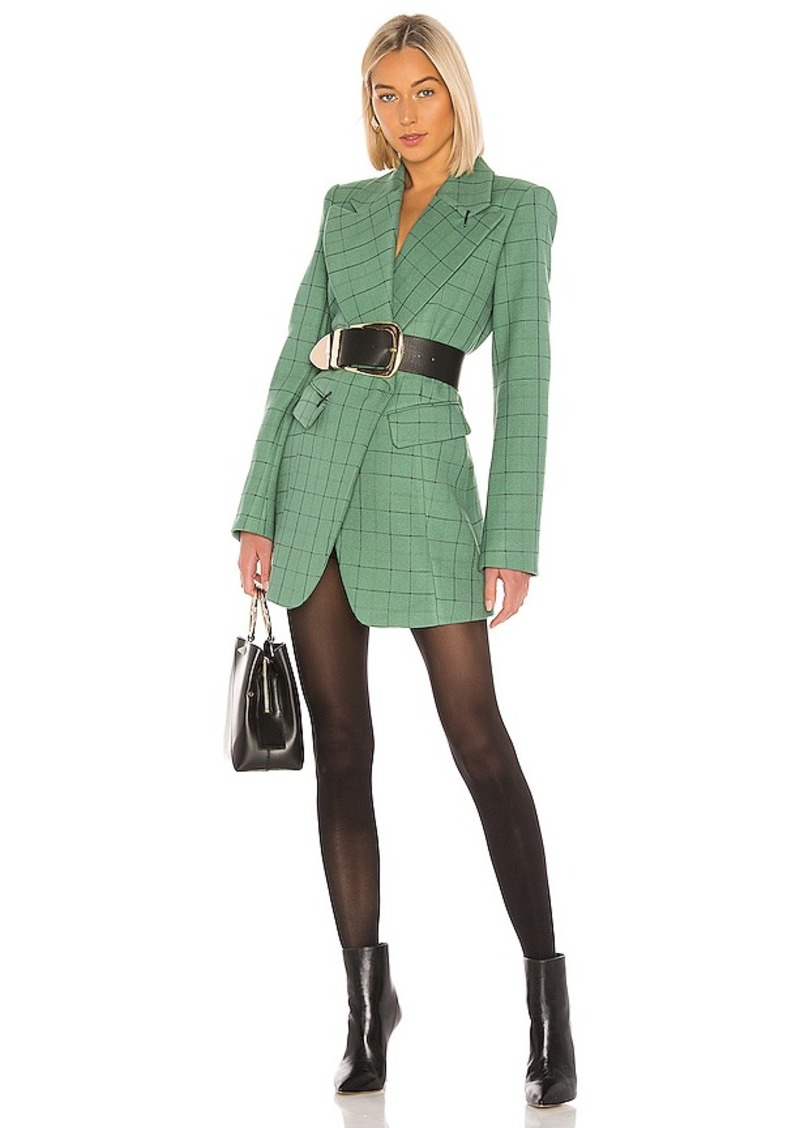 Tibi Windowpane Peaked Lapel Blazer Dress