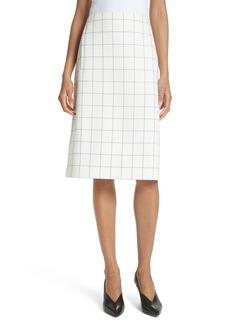 Tibi Windowpane Plaid A-Line Skirt