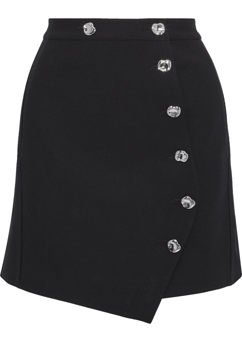 Tibi Woman Anson Asymmetric Cady Skirt Black