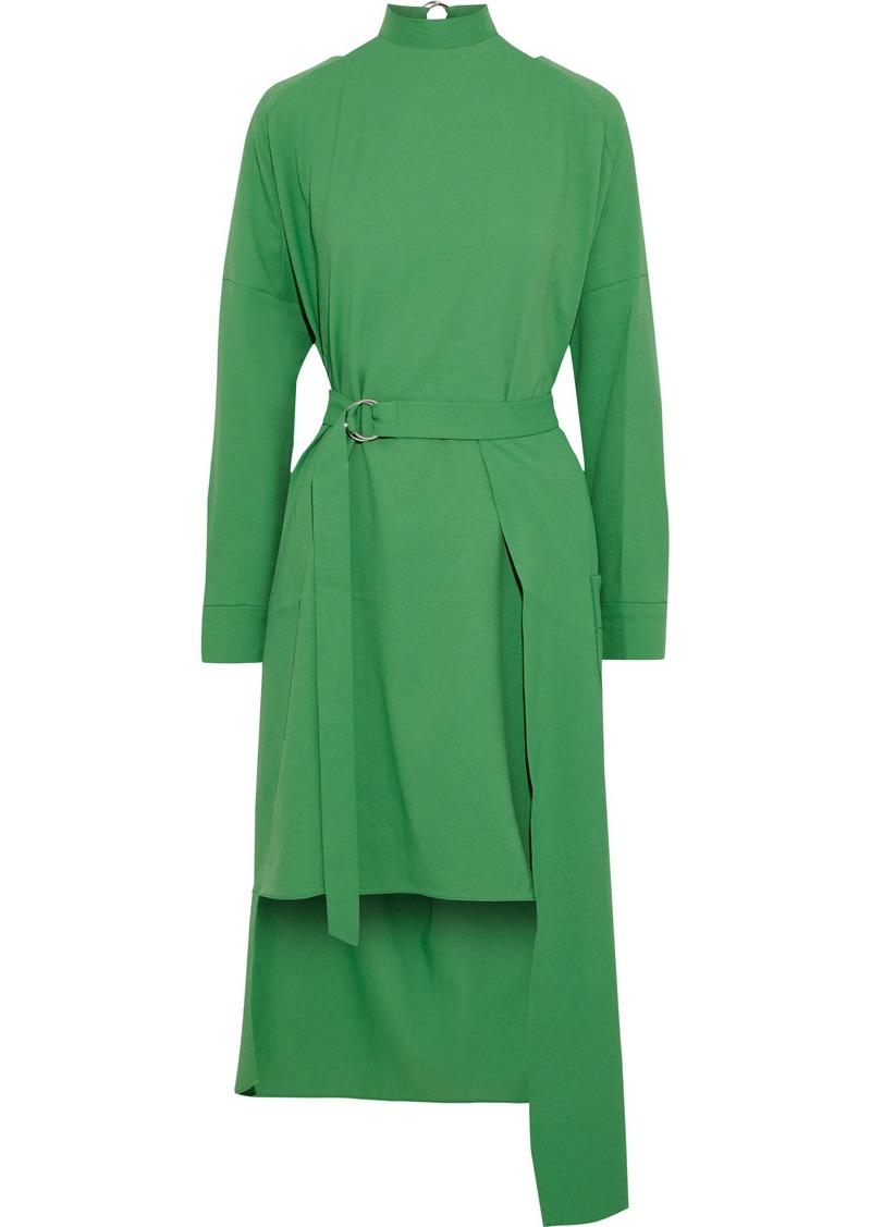 Tibi Woman Asymmetric Belted Cutout Cady Dress Green
