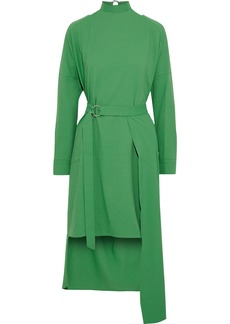 Tibi Woman Asymmetric Belted Cutout Cady Dress Green