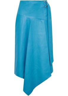 Tibi Woman Asymmetric Buckle-detailed Leather Midi Skirt Azure