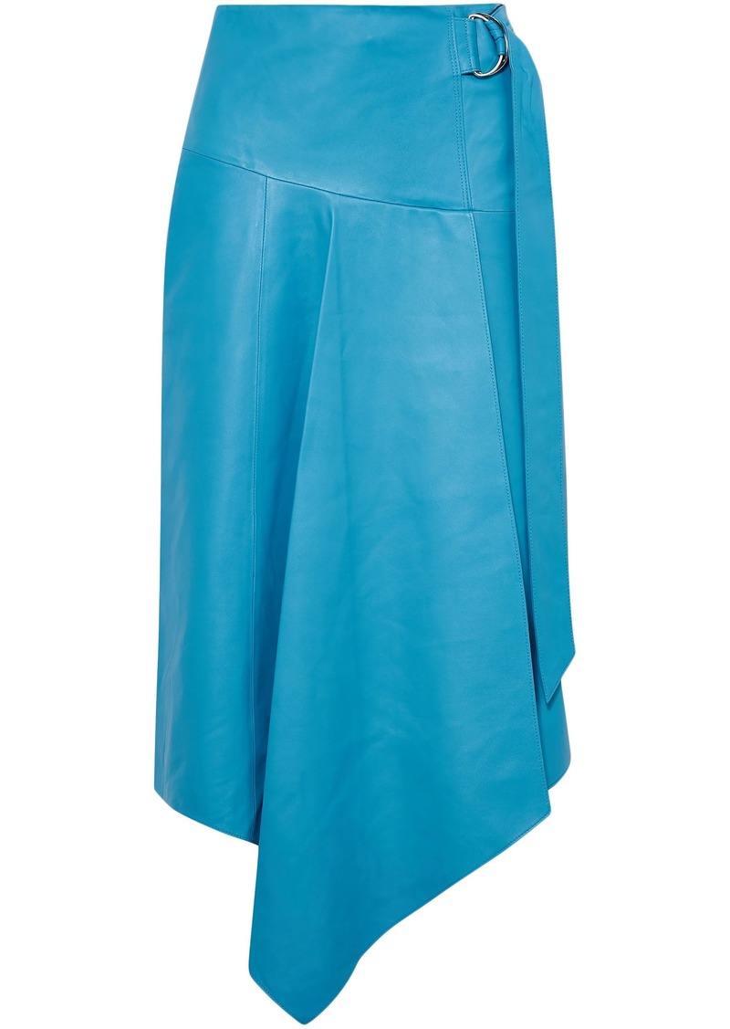 Tibi Woman Asymmetric Belted Leather Skirt Azure