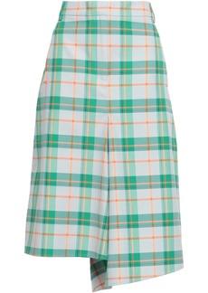 Tibi Woman Asymmetric Checked Twill Skirt White