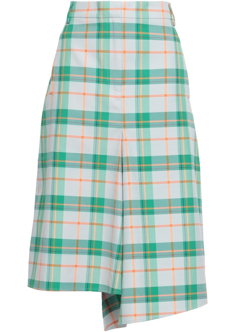 Tibi Woman Asymmetric Checked Twill Skirt White