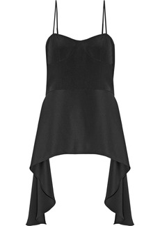 Tibi Woman Asymmetric Corset-effect Silk-crepe Camisole Black