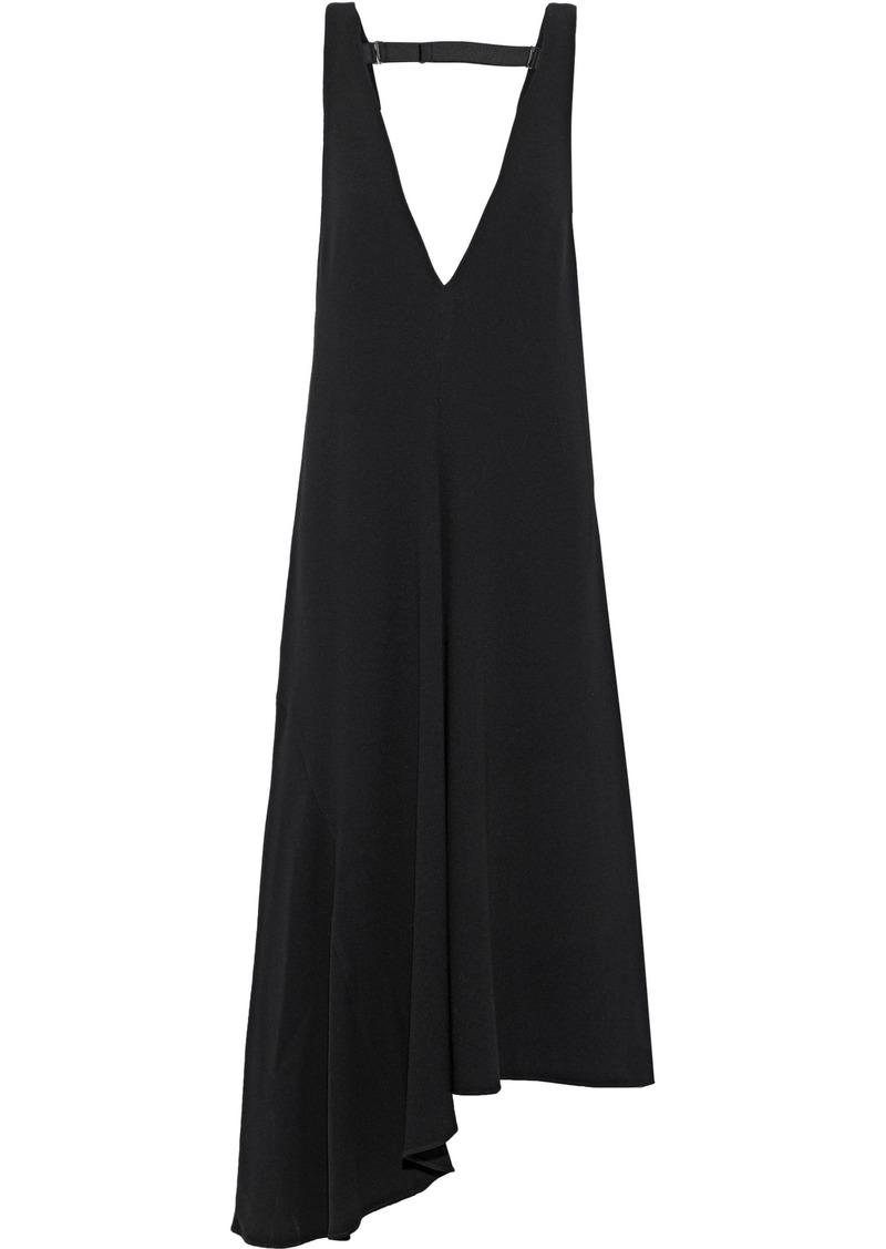 Tibi Woman Asymmetric Crepe Midi Dress Black