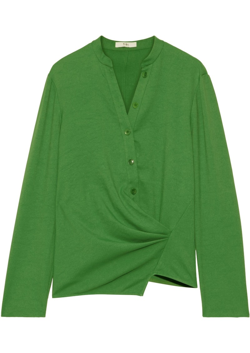 Tibi Woman Asymmetric Draped Stretch-cady Top Green