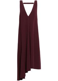 Tibi Woman Asymmetric Open-back Stretch-crepe Midi Dress Burgundy