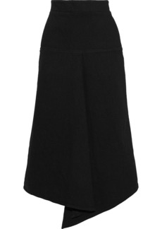 Tibi Woman Asymmetric Pleated Denim Skirt Black