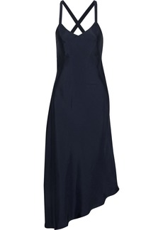 Tibi Woman Asymmetric Sateen Midi Slip Dress Midnight Blue