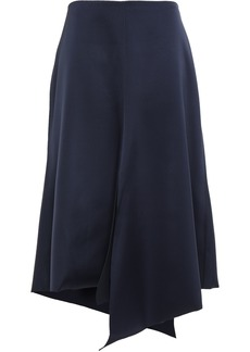 Tibi Woman Asymmetric Satin-twill Skirt Navy