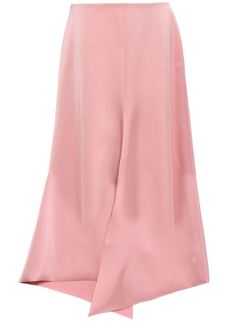 Tibi Woman Asymmetric Satin-twill Skirt Blush