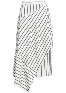 Tibi Woman Asymmetric Striped Twill Skirt Ivory