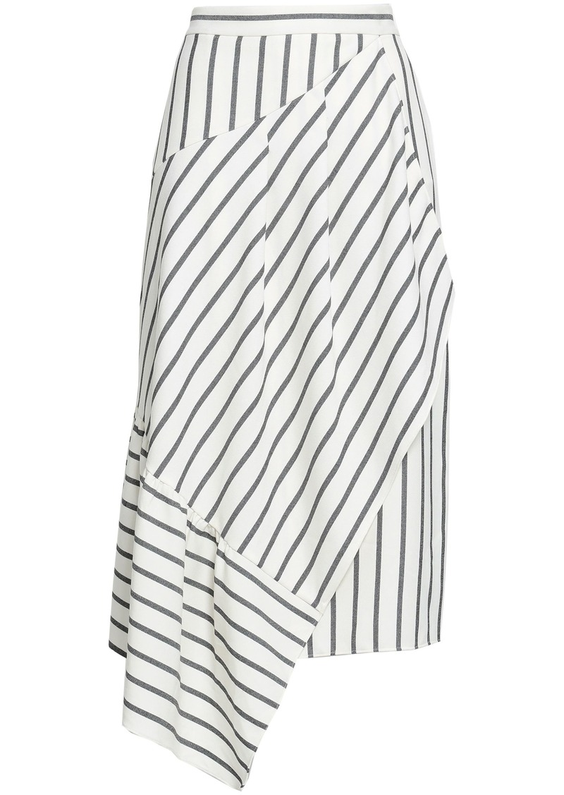 Tibi Woman Asymmetric Striped Twill Skirt Ivory