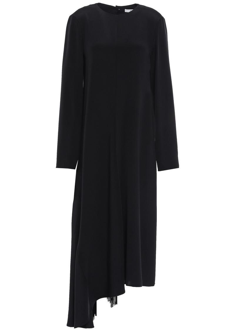 Tibi Woman Asymmetric Tie-back Cutout Silk-crepe Midi Dress Black