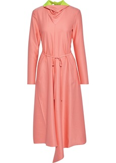 Tibi Woman Asymmetric Tie-neck Satin-twill Midi Dress Bubblegum