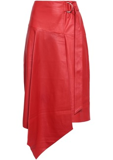Tibi Woman Asymmetric Belted Leather Skirt Tomato Red