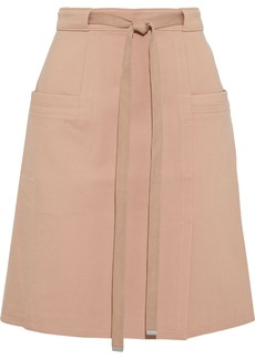 Tibi Woman Belted Cady Mini Skirt Antique Rose