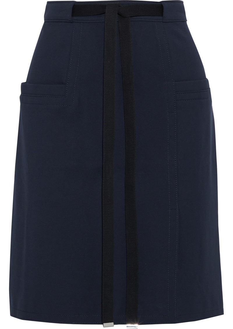 Tibi Woman Belted Cady Mini Skirt Navy