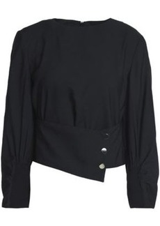 Tibi Woman Belted Crepe Blouse Black