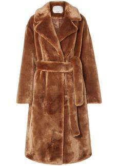Tibi Woman Belted Faux Fur Coat Light Brown