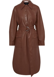 Tibi Woman Belted Faux Leather Shirt Dress Brown