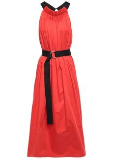 Tibi Woman Belted Gathered Cotton-poplin Midi Dress Tomato Red