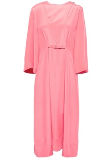 Tibi Woman Belted Silk Crepe De Chine Midi Dress Bubblegum