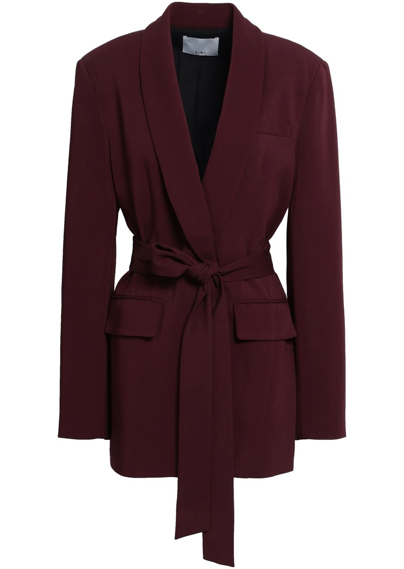 Tibi Woman Belted Stretch-crepe Blazer Burgundy
