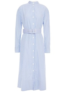 Tibi Woman Belted Striped Cotton-poplin Midi Shirt Dress Blue