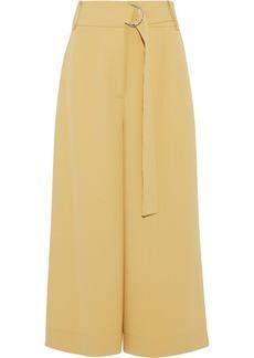 Tibi Woman Belted Woven Culottes Pastel Yellow