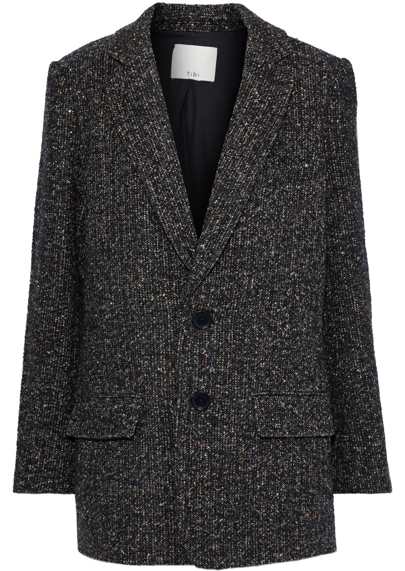 Tibi Woman Bouclé-tweed Blazer Black