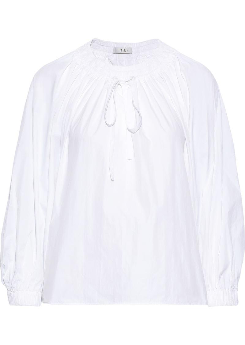 Tibi Woman Bow-detailed Shirred Shell Blouse White